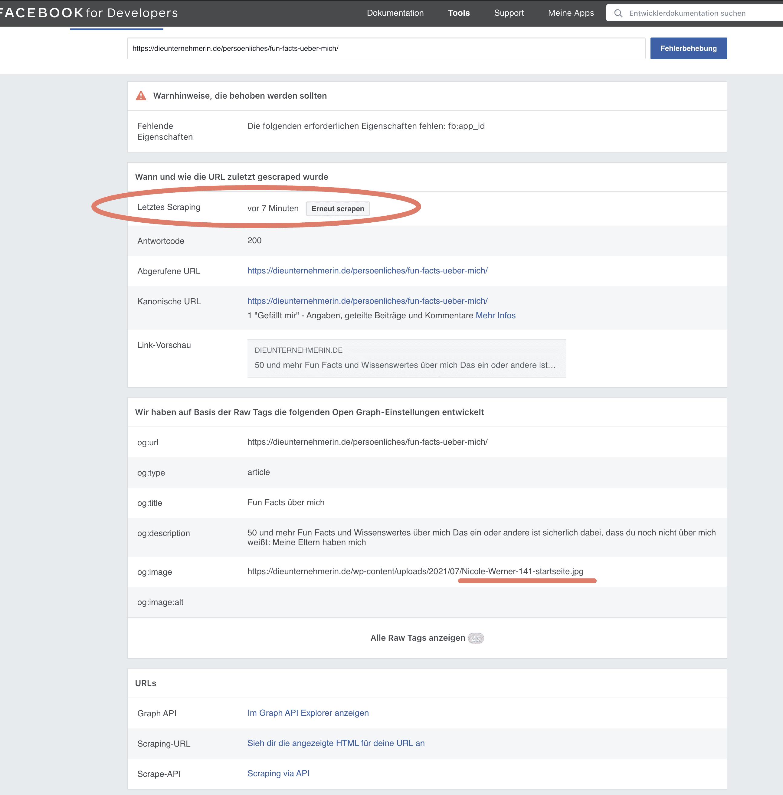 Was Facebook BISHER (ohne Aktualisierung) über deine Unterseite (z.B. Blog, deine Angebotsseite) gespeichert hat