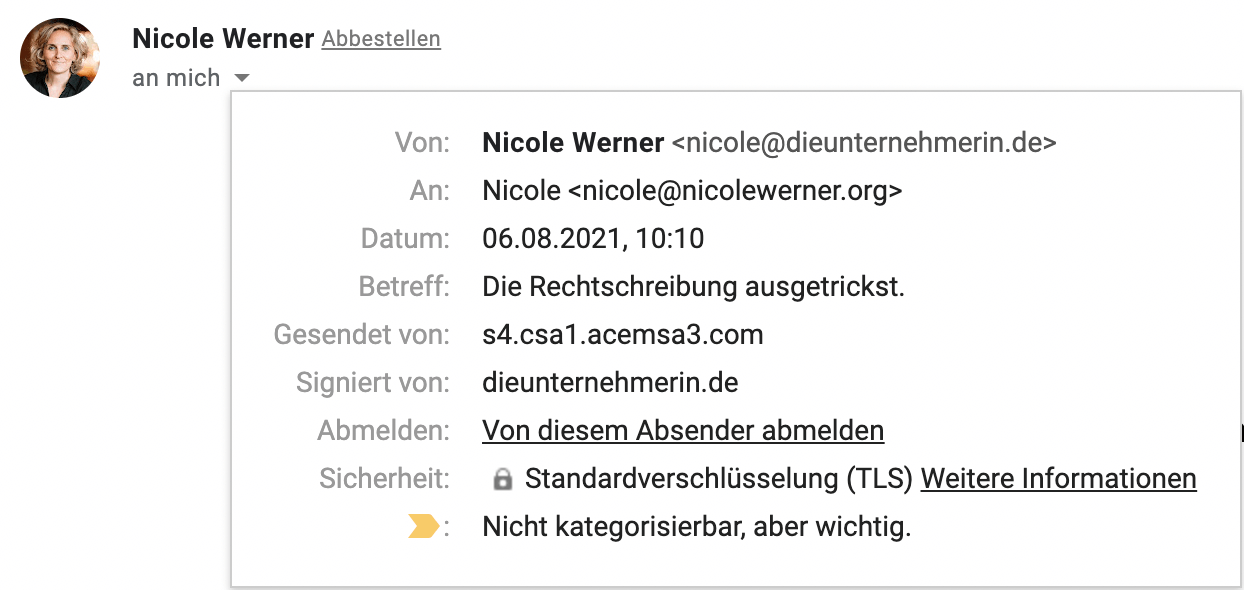 E-Mail Kopfzeile